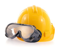 Helmet and Safety glasses Stock Photo