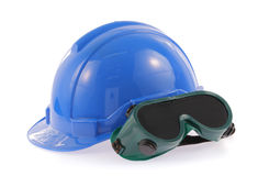 Helmet and Safety glasses Royalty Free Stock Images