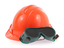 Helmet and Safety glasses Royalty Free Stock Photography