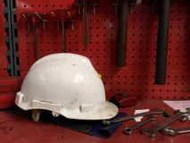 Helmet Safety. On shelf in industries site stock images