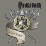 Helmet, shield and axe. Viking. Stock Images