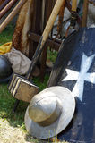Helmet shield and cudgel historical weapons Royalty Free Stock Photography