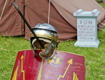 Helmet, shield and pike of a roman soldier Royalty Free Stock Photo