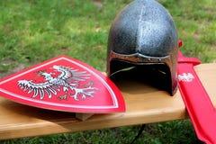Helmet, shield and sword knight. Stock Image