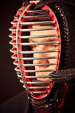 Helmet shot. Close-up portrait of kendo fighter. Asian martial arts Stock Photography