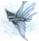 Helmet shuttle ship. Flying helmet shuttle ship from steel in a cloud stock illustration