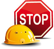 Helmet and sign STOP Royalty Free Stock Images
