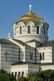The Helmet-Style Golden Dome of Vladimir Cathedral in Chersonese Stock Photo