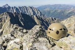Helmet on summit Royalty Free Stock Photo