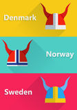 Helmet sweden, norway, danmark Icon flat Royalty Free Stock Photography