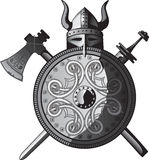 Helmet, sword, axe and Shield of Vikings. Illustration vector and raster Stock Images