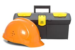 Helmet and toolbox isolated Stock Image