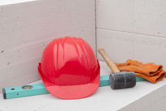 Helmet and tools royalty free stock photography