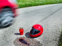 Helmet after traffic accident Royalty Free Stock Photo