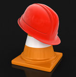 Helmet and traffic cone Royalty Free Stock Images