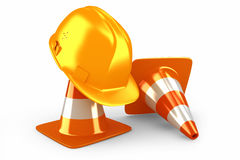 Helmet and traffic cones Royalty Free Stock Photos