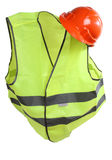 Helmet and vest one. Orange construction helmet and vest Stock Photography