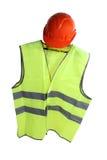 Helmet and vest two. Orange construction helmet and vest Stock Photography