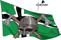 The helmet of a Viking crossed battle axes on the background of the flag of Vinland Royalty Free Stock Images
