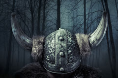 Helmet, Viking warrior, male dressed in Barbarian style with sword, bearded stock photography