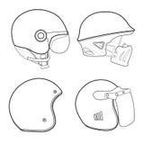 Helmet vintage line isolated on white background. Vector illustr Royalty Free Stock Images
