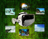 Helmet of virtual reality against the background of  matrix figu Royalty Free Stock Photography