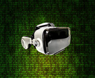 Helmet of virtual reality against the background of  matrix figu Royalty Free Stock Photo