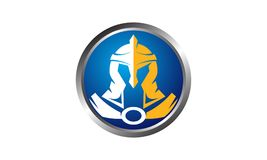 Helmet Warrior Logo Design Template Royalty Free Stock Photo