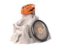 Helmet and wheel in mountains Stock Images