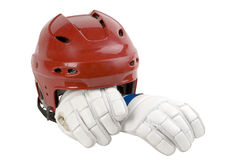 Helmet, white leggings for hockey. Head protection, hand protection athlete Stock Images