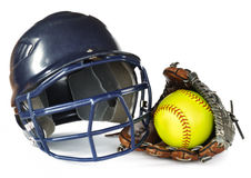 Helmet, Yellow Softball, and Glove Stock Image