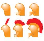 Helmets. Set, helmets distributed by rank Stock Photos
