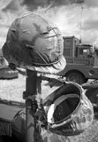 Helmets. Us army helments in black and white royalty free stock image