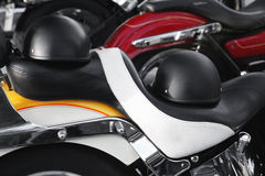 Helmets. On the saddle of a motorcycle Stock Photo