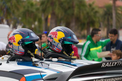 Helmets of Andreas Mikkelsen and his co-driver O Floene. In a Volkswagen Polo R WRC race in the 51th Rally RACC Rally of Spain royalty free stock photo