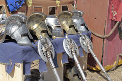 Helmets and axes Royalty Free Stock Images