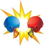 Helmets Clashing. Two football helmets clashing together Royalty Free Stock Image
