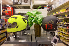 Helmets on display at canadian tire Royalty Free Stock Photos