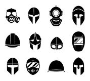 Helmets and masks vector icons Royalty Free Stock Photography