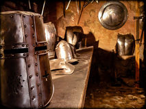 Helmets and medieval armor. Made for knights of that time Royalty Free Stock Photo