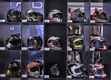 Helmets for motorcycling in a shop Royalty Free Stock Photo