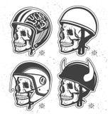 Helmets set. Motorcycle Themed handmade drawing helmets with skull. Helmets set Royalty Free Stock Photo