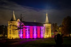 Helmond Castle at night time. The castle in the city centre of Helmond, a iconic building that is lit at night not only with spots, but also with modern led royalty free stock photo
