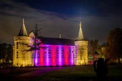 Helmond kasztel przy nighttime Zdjęcie Royalty Free