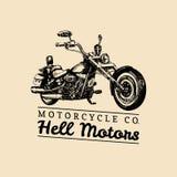Helmotoren die affiche adverteren Vectorhand getrokken bijl voor MC teken, etiket Wijnoogst gedetailleerde motorfietsillustratie Royalty-vrije Stock Afbeelding