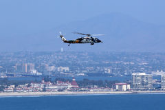 Helo over San Diego. Helo with Coronado in the Background Stock Photos