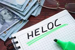 HELOC written on a notebook. Royalty Free Stock Images