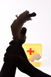 Help. Need help concept - hands after the first aid Stock Images
