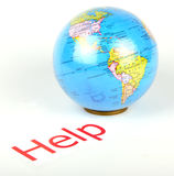Help. The globe asking help to people Stock Photography