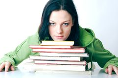 Help. Teenage on the books that must be learned Stock Image